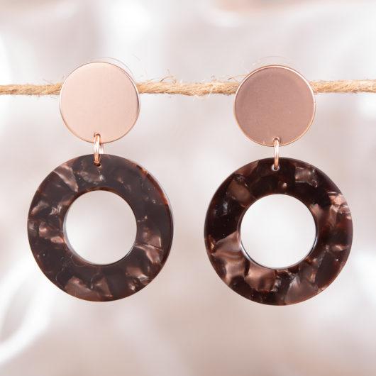Small Hoop Drop Earrings - Pearl Navy Multi