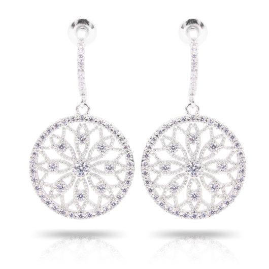 Lace Flower Inset Earrings - Silver