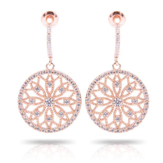 Lace Flower Inset Earrings - Rosegold