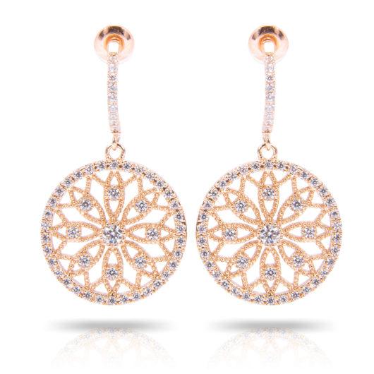 Lace Flower Inset Earrings - Gold