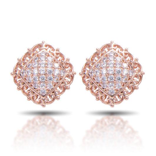 Scroll Square Stud Earrings - Rosegold