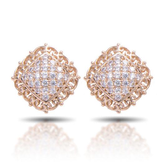 Scroll Square Stud Earrings - Gold