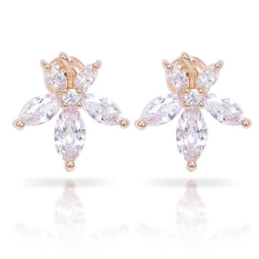 Flower Stud Earrings - Gold