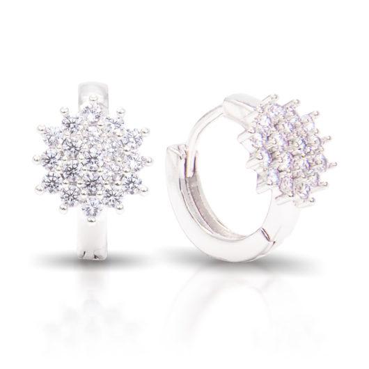 Cluster Flower Ear Hugger Earrings - Silver