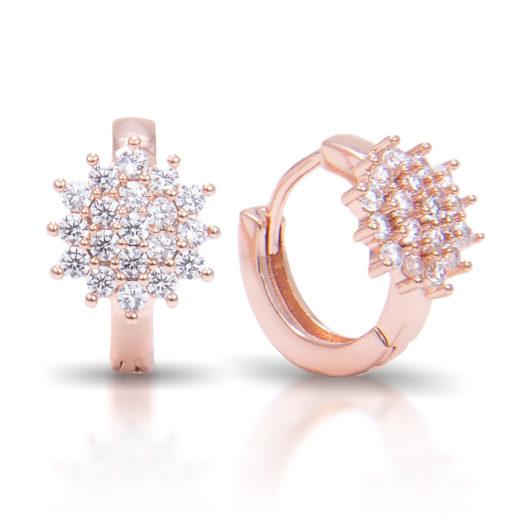 Cluster Flower Ear Hugger Earrings - Rosegold