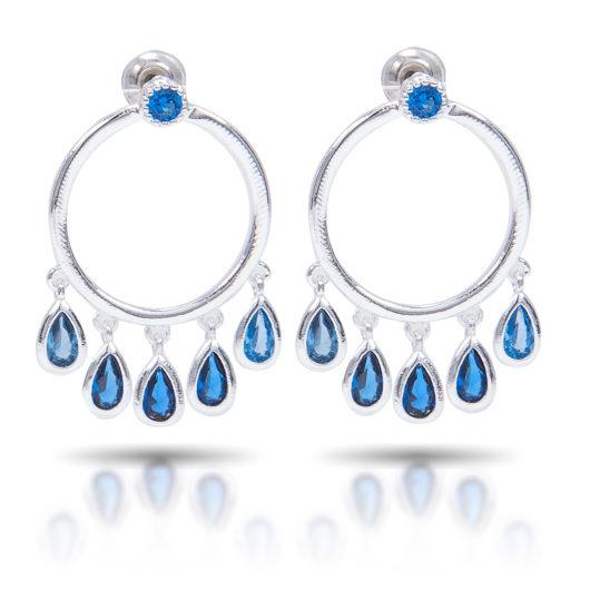 Teardrop Fringe Hoop Earrings - Silver Blue