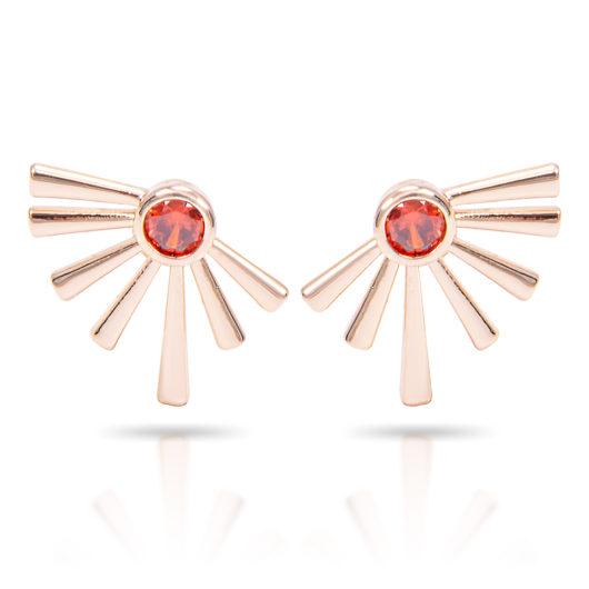 Half Sunburst Earrings - Gold Coral