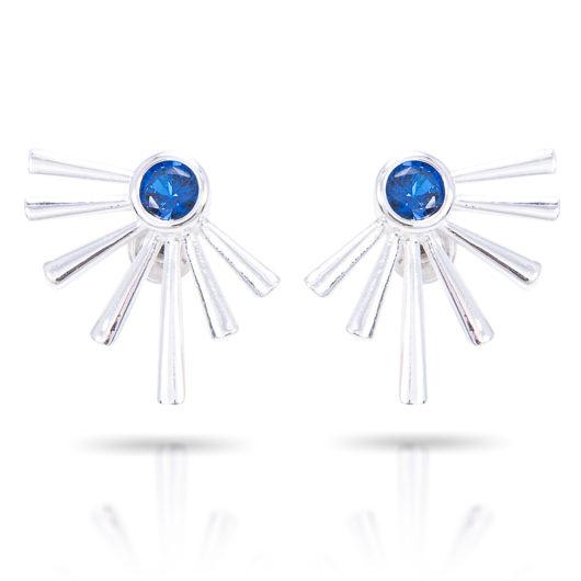 Half Sunburst Earrings - Silver Tanzanite