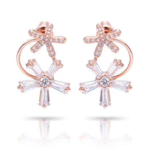 Double Flower Drop Earrings - Rosegold