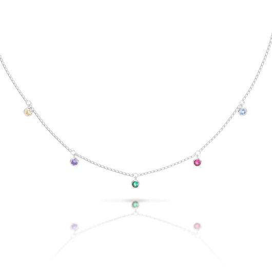 Droplet MultiColor Necklace - Silver