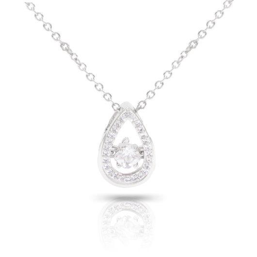Teardrop Cluster Necklace - Silver