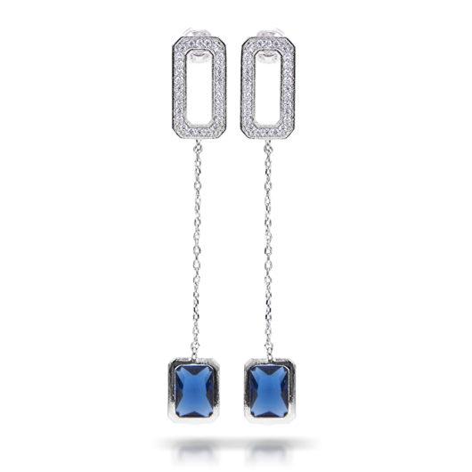 Baguette Drop Long Earrings - Silver Blue