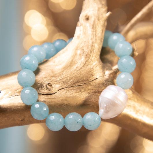Baroque Pearl & Agate Stretch Bracelet - Aquamarine