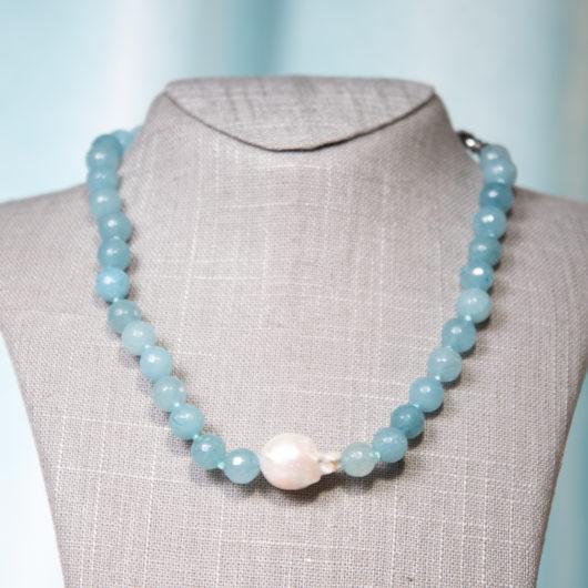 Baroque Pearl & Agate Necklace - Aquamarine