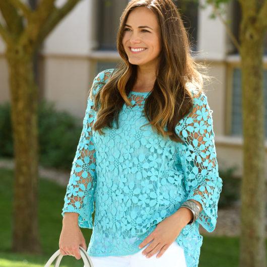 Daisy Crochet Tunic with Cami 2X - Aqua