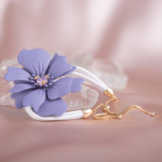 Statement Flower Pull-Cord Bracelet - Lavender