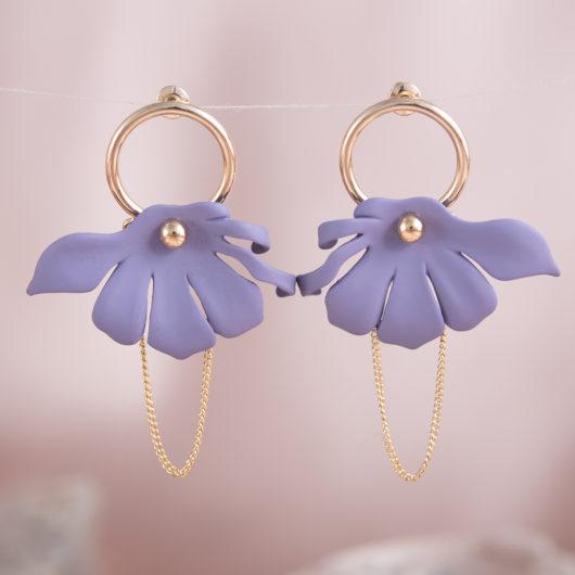 Half Flower Chain Earrings - Lavendar