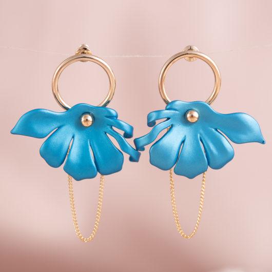 Half Flower Chain Earrings - Pearl Aqua