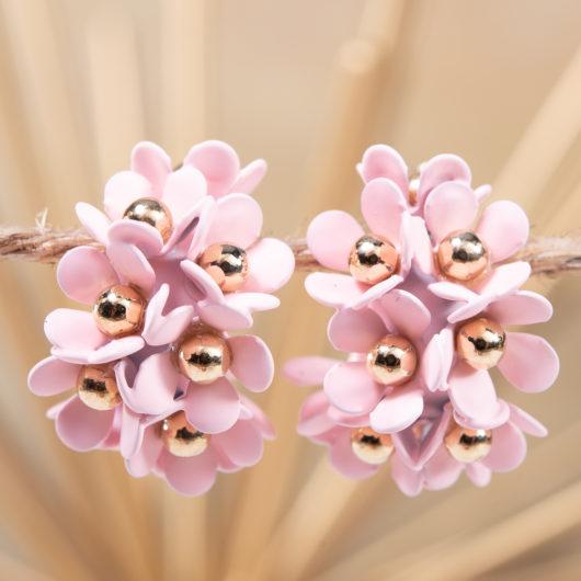 Cluster Flower Ear Hugger Earrings - Pale Blush