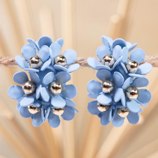 Cluster Flower Ear Hugger Earrings - Milky Blue
