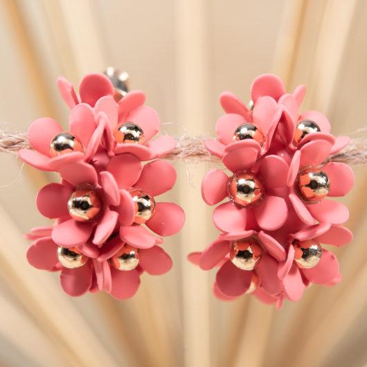 Cluster Flower Ear Hugger Earrings - Coral