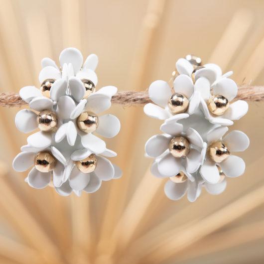 Cluster Flower Ear Hugger Earrings - White