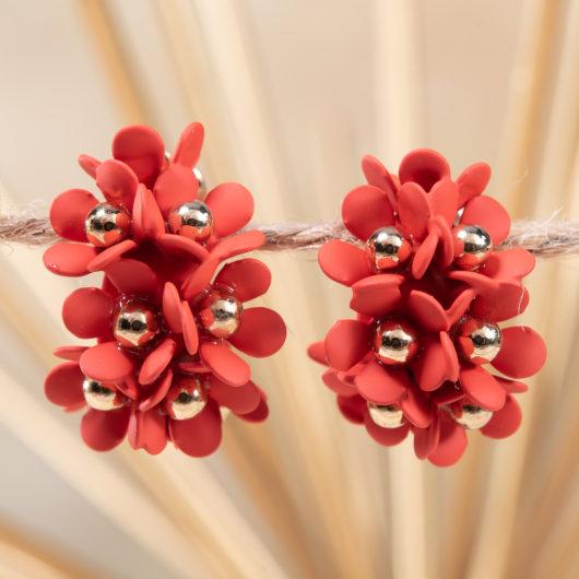 Cluster Flower Ear Hugger Earrings - Poppy