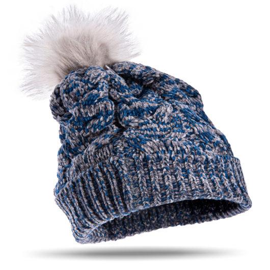 Polar Chenille Pom Hat Blue