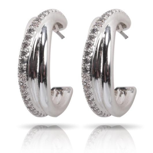 Criss-Cross Ear Hugger Earrings - Silver