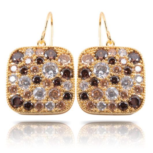 Cobblestone Square Drop Earrings - Gold