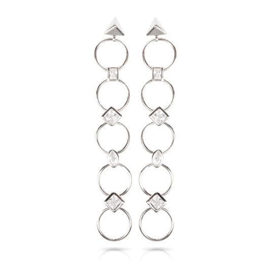 Rings Drop Earrings - Silver