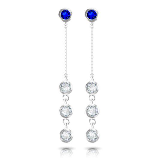 Opal Stud with 3 Drop Earrings - Silver