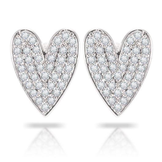 Oblong Heart Earrings - Silver