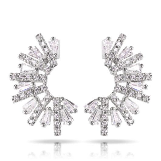 Half Circle Baguette Earrings - Silver
