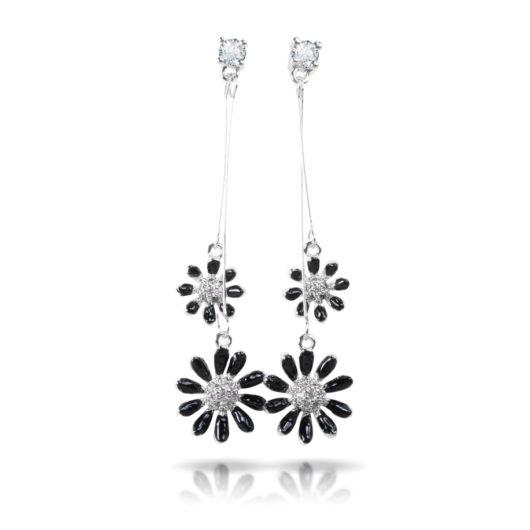 Two Flower Drop Earrings - Silver