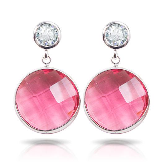Fuchsia Crystal Drop Earrings - Silver