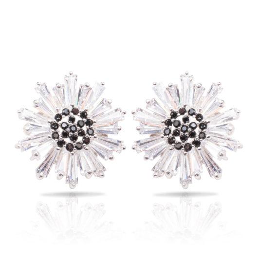 Baguette Flower Earrings - Silver