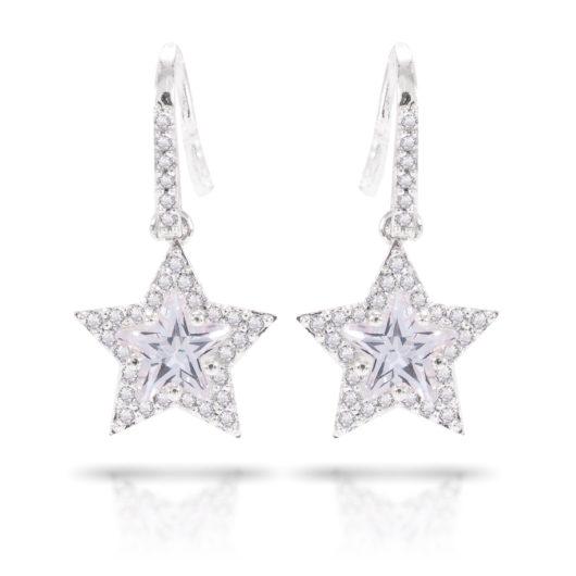 Star Cut Drop Earrings - Silver