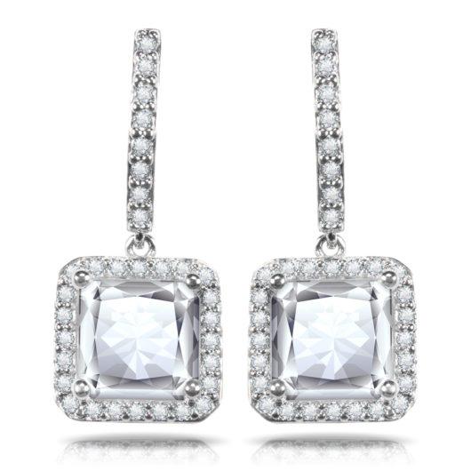 Square Halo Drop Earrings - Silver
