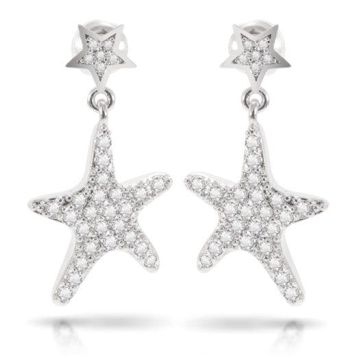 Starfish Drop Earrings - Silver