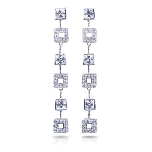 Squares Long Earrings - Silver