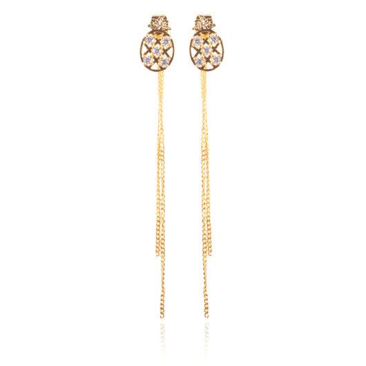 Pineapple Long Earrings - Gold