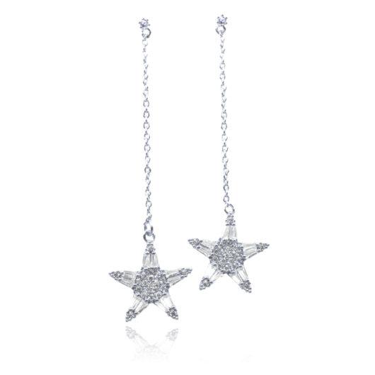 Hanging Star Long Earrings - Silver