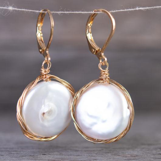 Edge Wrap Disc Drop Pearl Earrings - Natural White / Gold