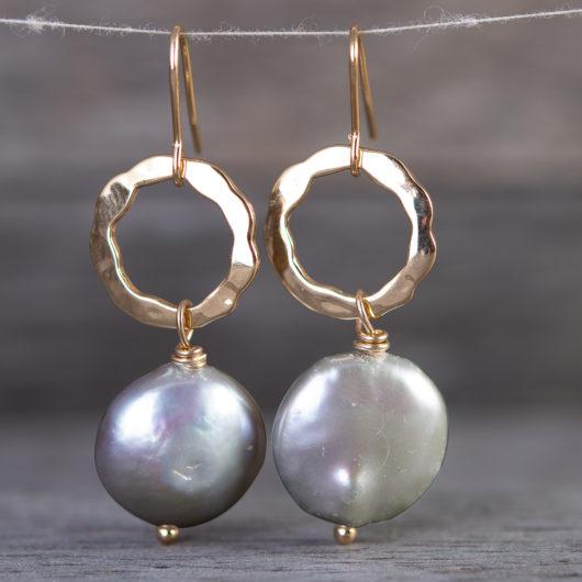 Open Hoop Drop Disc Pearl Earrings - Natural Dark Peacock / Silver