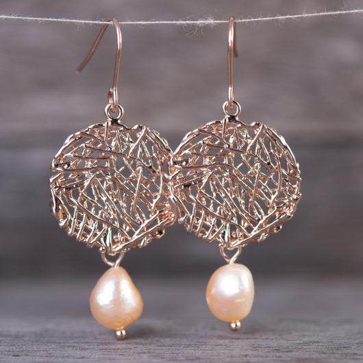 Nest Drop Pearl Earrings - Natural Peach / Rosegold