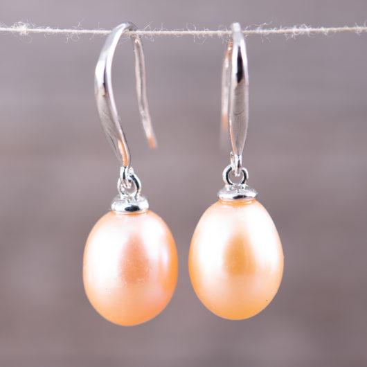 Drop Pearl Earrings - Natural Peach