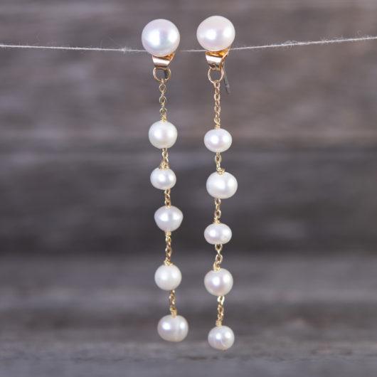Droplet Long Pearl Earrings - Gold