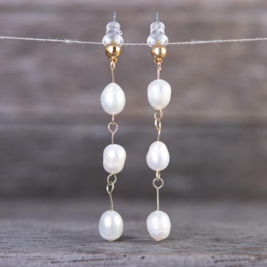 Drop Bars Long Pearl Earrings - Gold