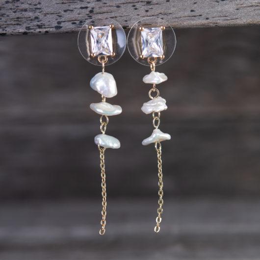 Triple Drop Chain Long Earrings - Gold